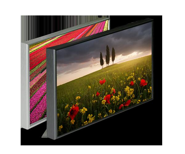 ukázka fotoobrazů v hliníkovém rámu