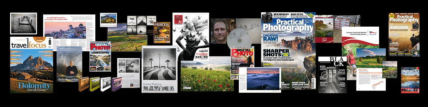 Ukázky různého použití licencované fotografií v časopisech, knihách nebo třeba na obalu CD disku