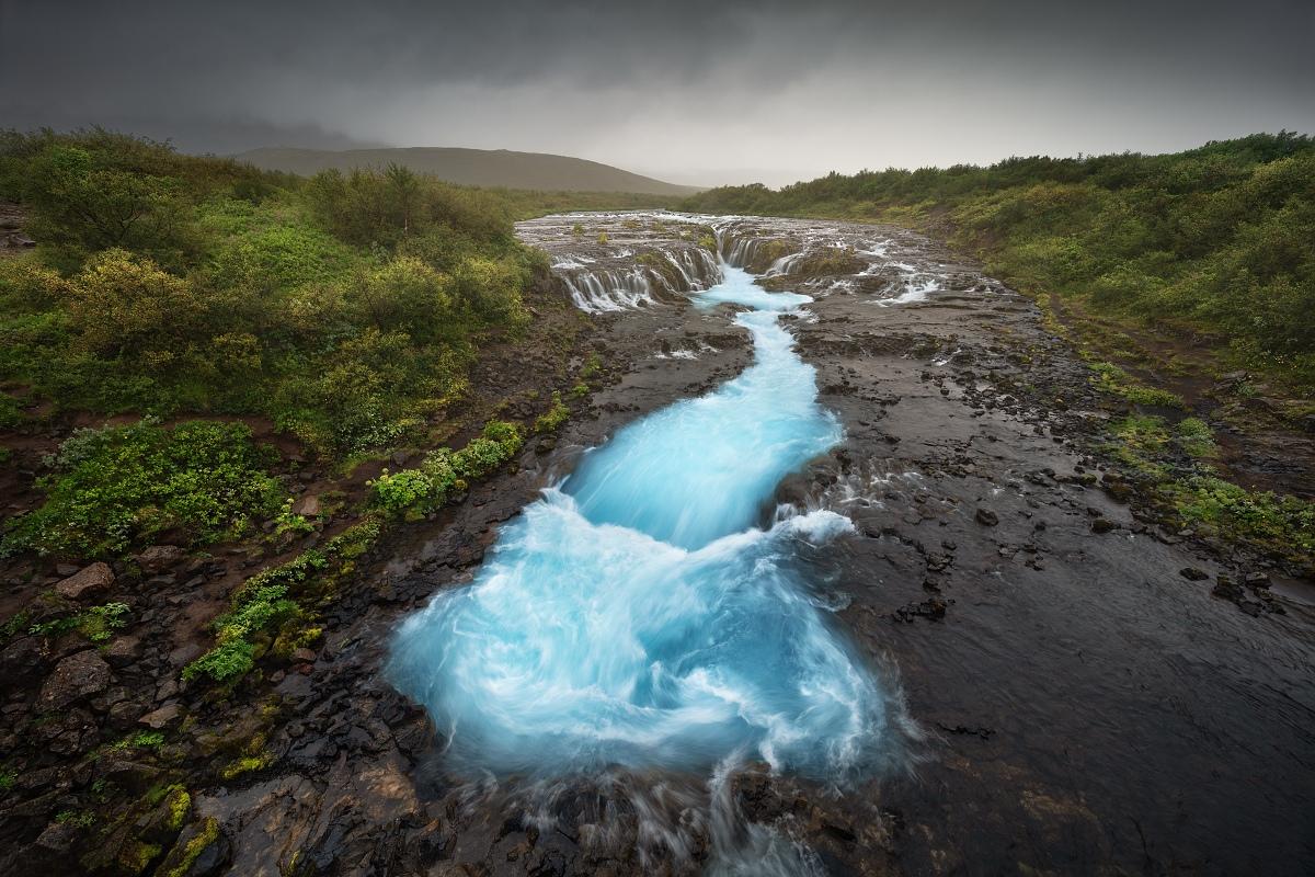 Fotka vodopádu Bruarfoss z letní fotografické expedice po Islandu