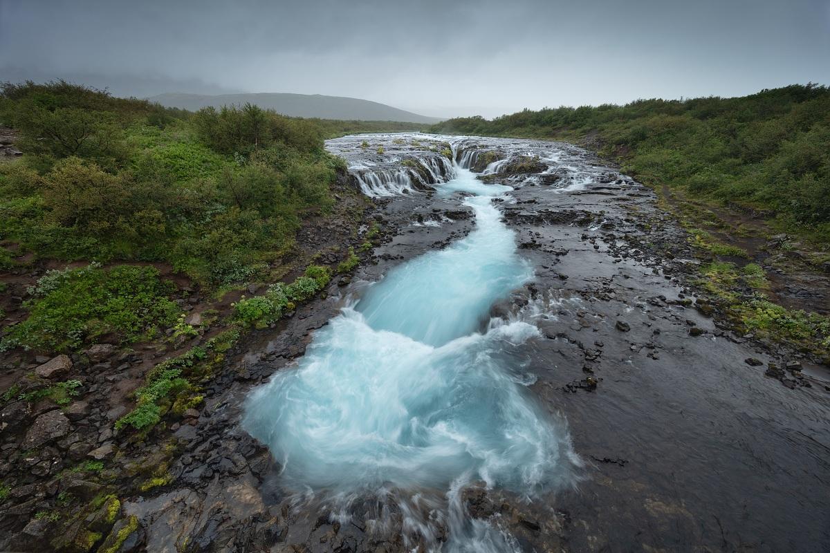 Fotka vodopádu Bruarfoss z letní fotografické expedice po Islandu s magnetickým přechodovým filtrem VFFOTO