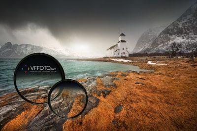 Fotografie z divokého pobřeží Lofot s použitým magnetickým přechodovým filtrem VFFOTO