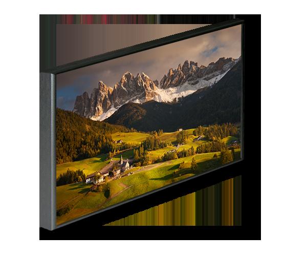 Fotoobraz v černém hliníkovém rámu s motivem podzimních Dolomit