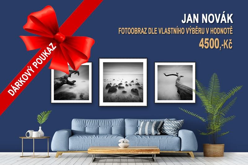 Dárkové poukazy na fotokurzy a fotoobrazy - dárkový poukaz na originální fotoobraz s černobílým minimalistickým motivem z divokého pobřeží Baltského moře