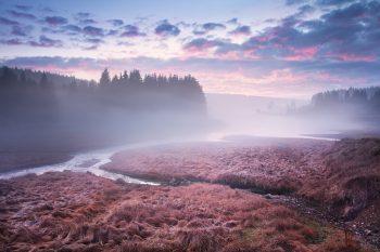 Mlhavý podvečer s červánkovými mraky u přítoků vodní nádrže Fláje v Krušných horách