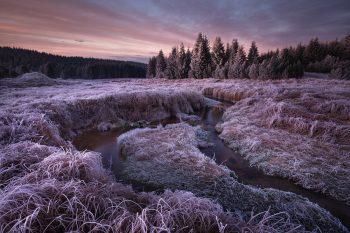 Klikaté meandry horského potoka před východem slunce, tedy v tzv. modré hodince, kdy se krajina barví do zajímavých pastelových modro fialových tónů